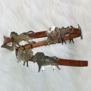 Vintage Leather Brown Skinny Belt Silver Animal SM